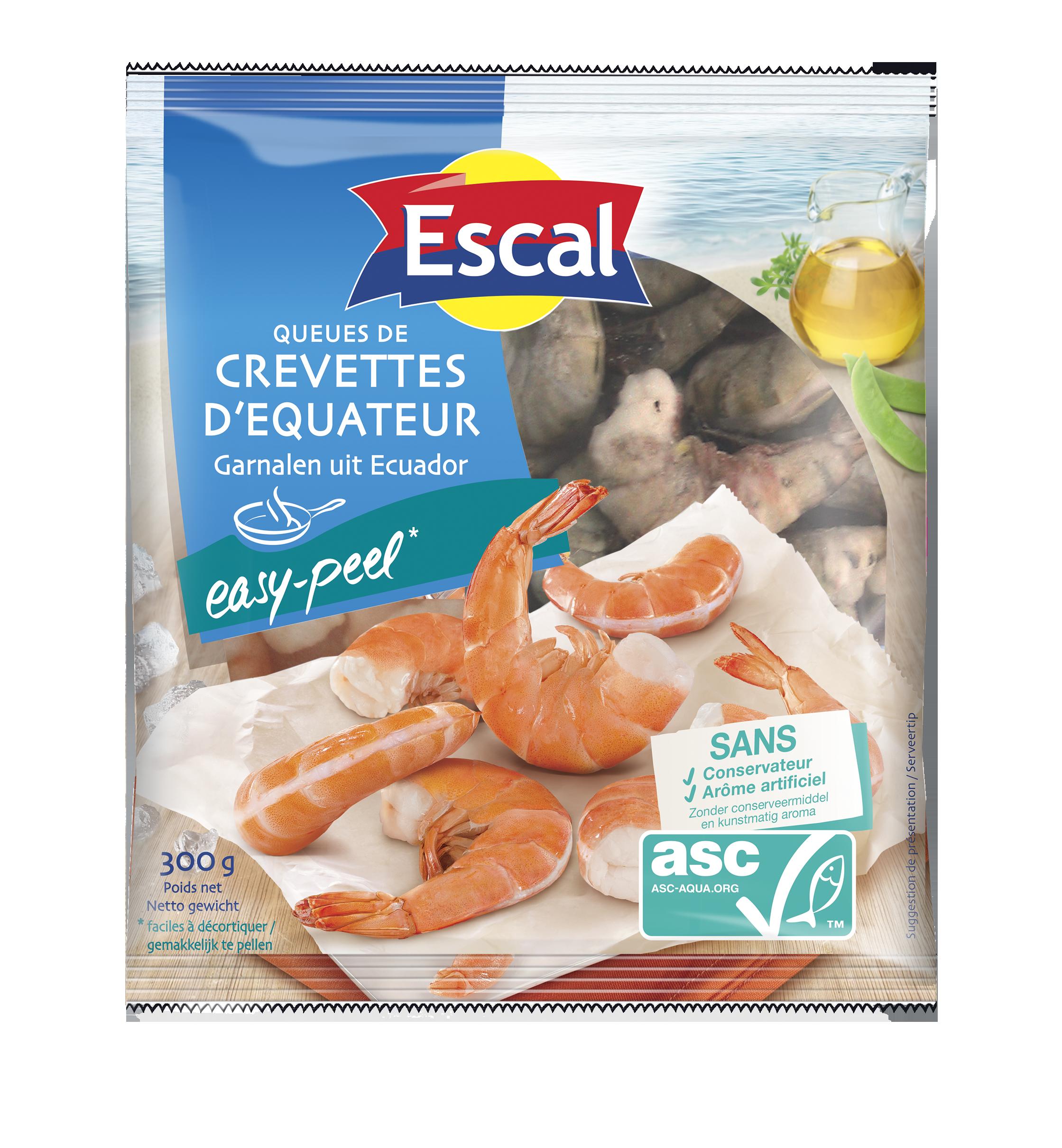 Queues de crevettes d'Équateur ASC