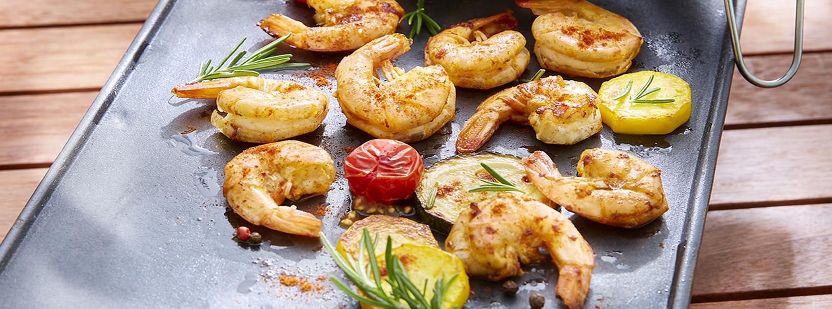 Crevettes d'Equateur à la plancha, marinées au piment et au romarin