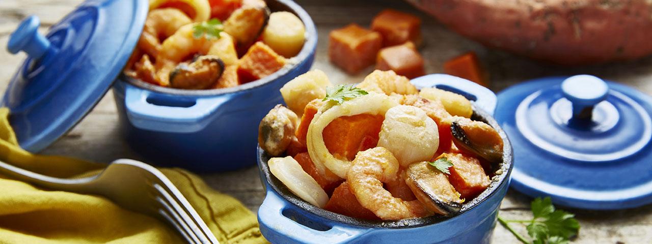 Cassolettes de fruits de mer et de patates douces