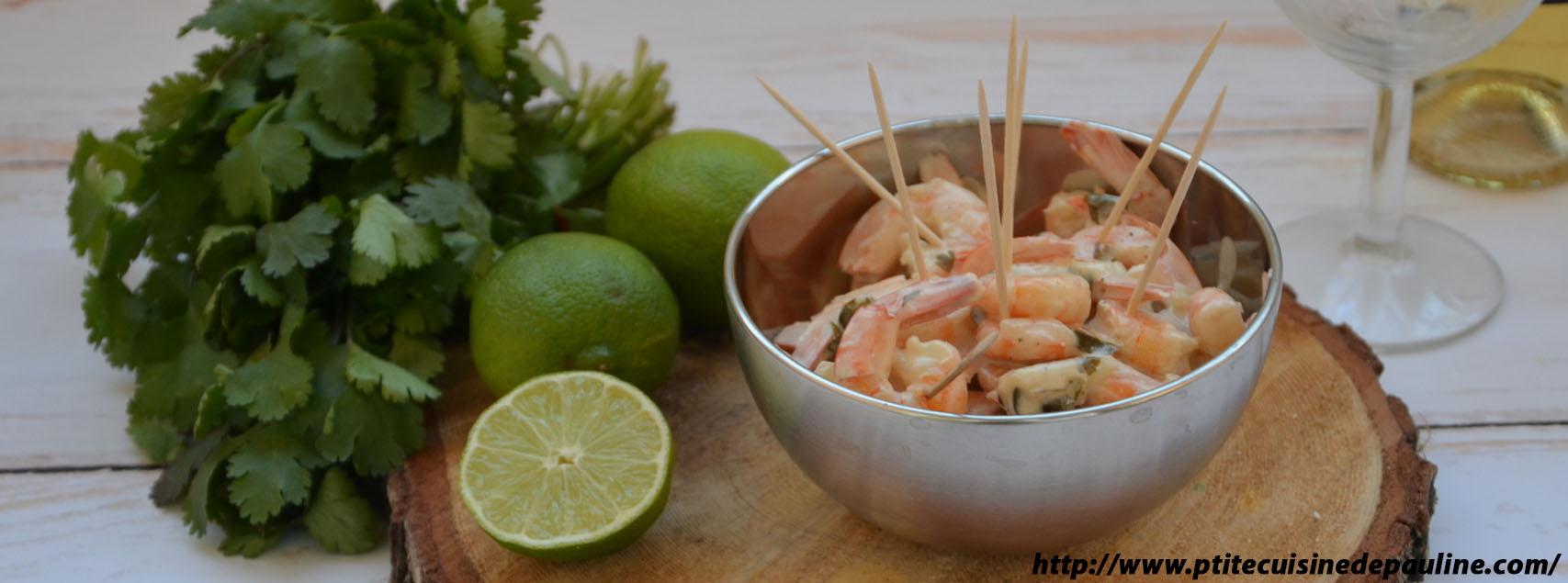 Crevettes citron vert, coco et coriandre