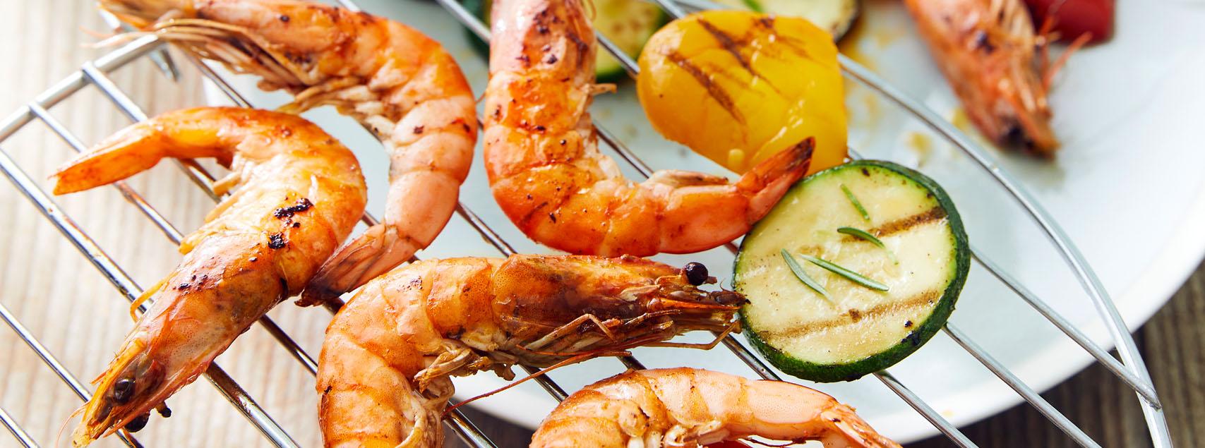 Gambas d'Equateur BIO et légumes grillés