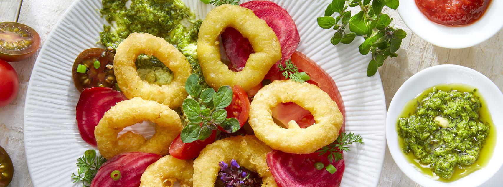 Assiette de Calamar Romana et pesto maison