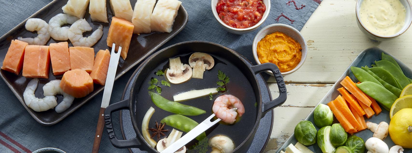 Fondue chinoise de poissons et crevettes