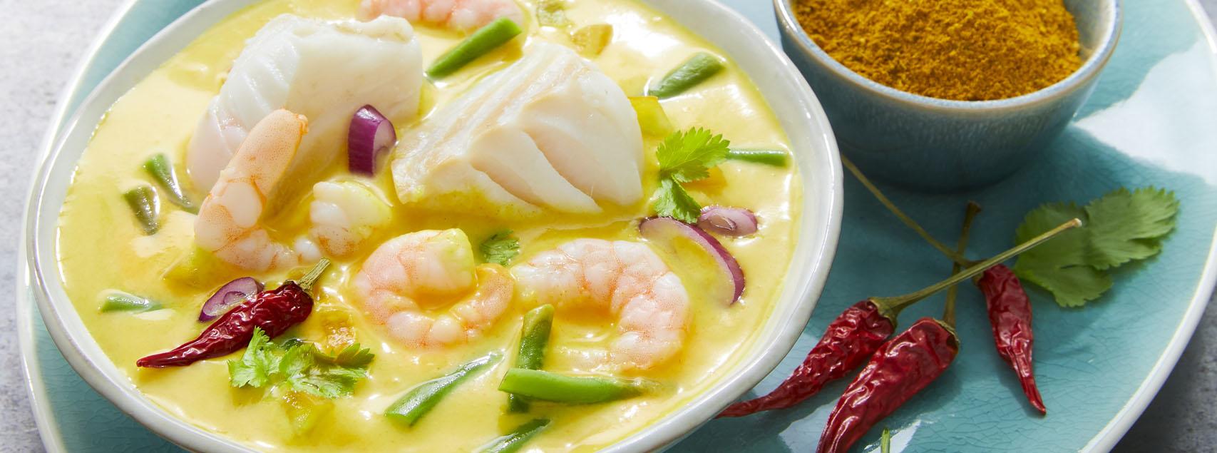 Curry de poissons et crevettes