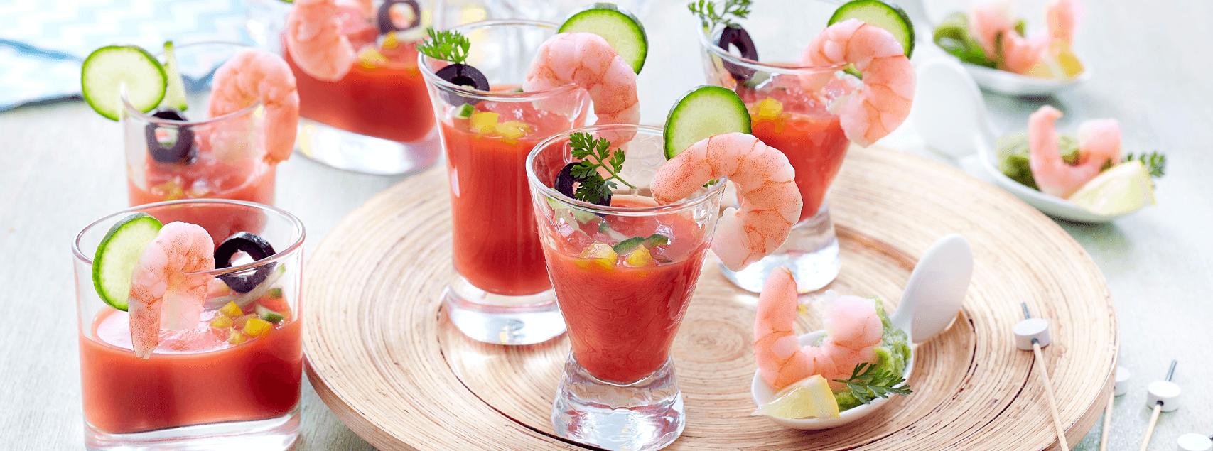 Gaspacho de tomates et crevettes