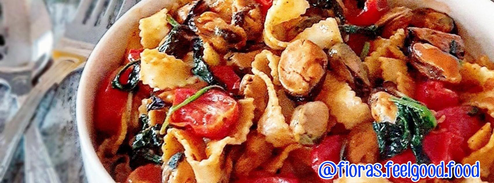 Tagliatelles aux moules et épinards à la sauce tomate