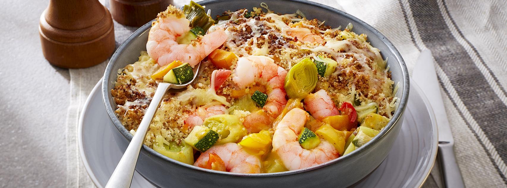 Crumble de crevettes et légumes gratinés